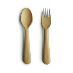 Fourchette et cuillère | Moutarde par Mushie