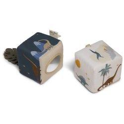 2 petits cubes d'activités en tissu | Dino par Konges Slojd