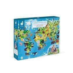Puzzle éducatif géant 200 pièces | Les animaux menacés par Janod dans sa boite