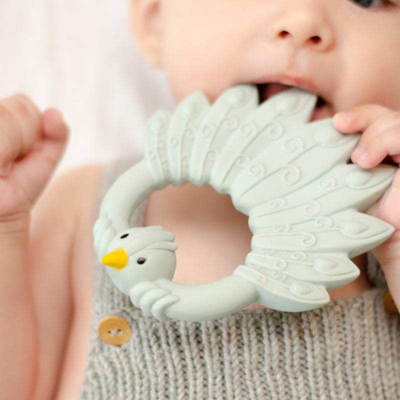 Anneau de dentition | Paon gris-bleu par Natruba dans la bouche d'un enfant