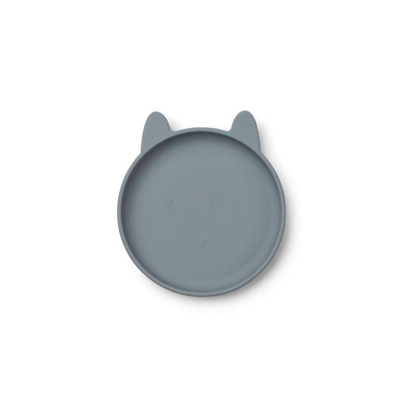 Assiette Liewood bleue en silicone et en forme de lapin