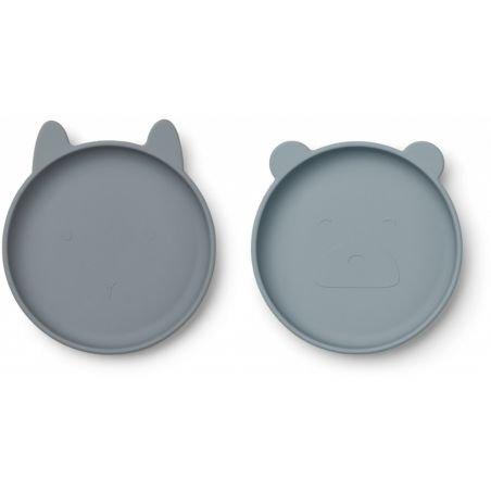 2 assiettes en silicone   Bleu mix par Liewood