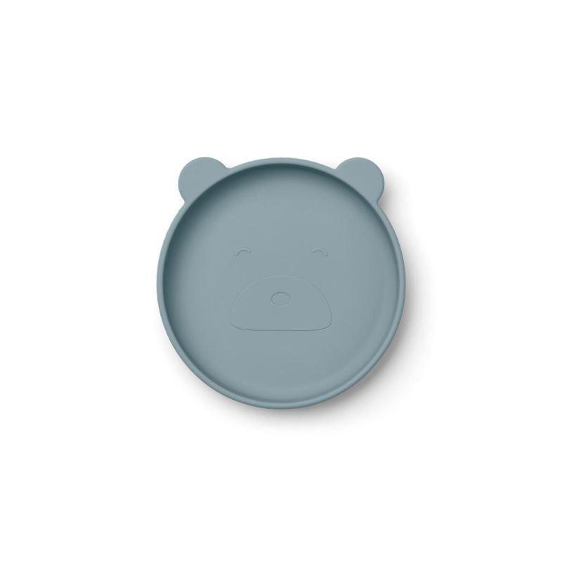 Assiette Liewood bleue en silicone et en forme d'ours