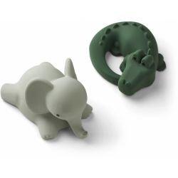 2 jouets pour le bain   Safari  vert mix par Liewood