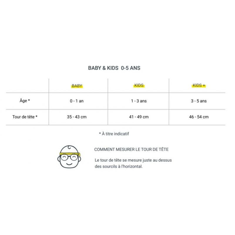 Lunettes de soleil Bébé 0-12 mois | Vert olive par Izipizi détails des tailles