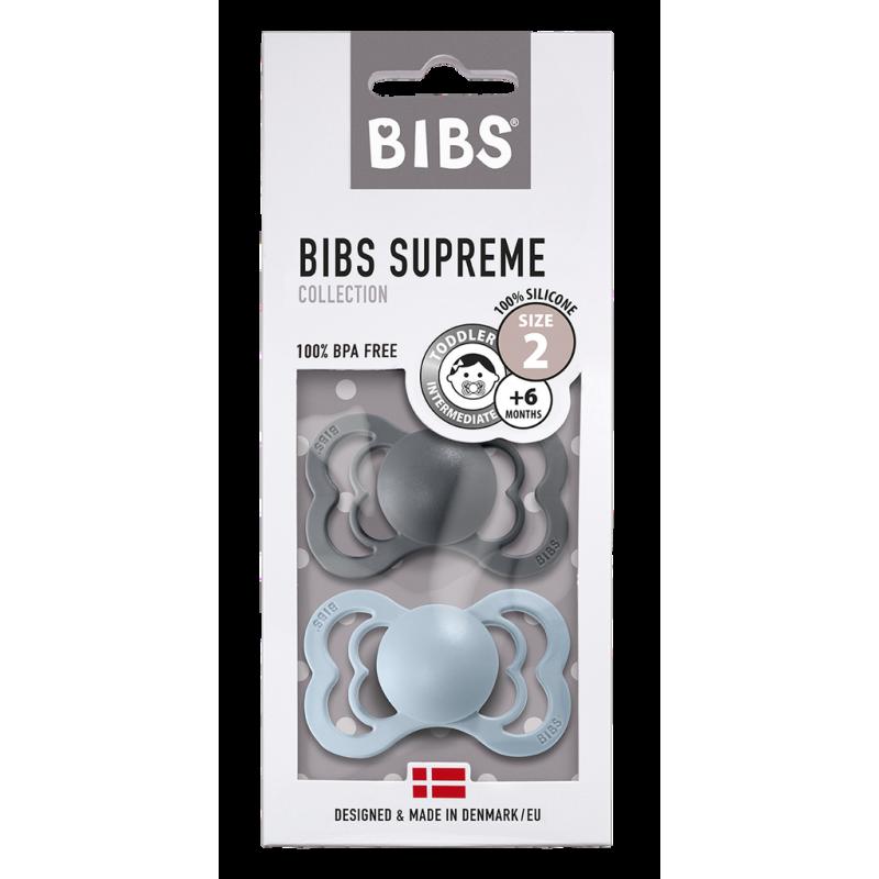 2 Tétines Bibs Supreme  Taille 2 | Fer et bleu