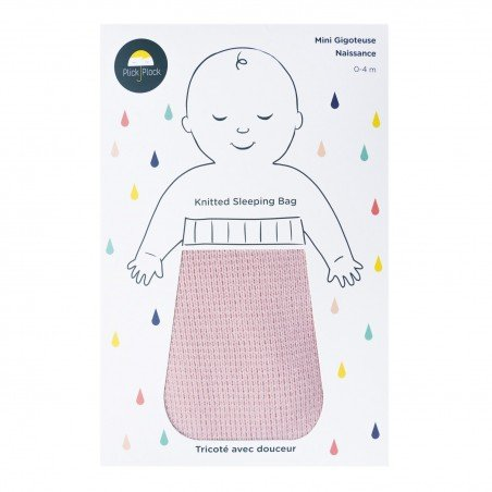 Gigoteuse naissance coton rose tricoté avec du coton certifiée Oeko Tex 100 dans son packaging
