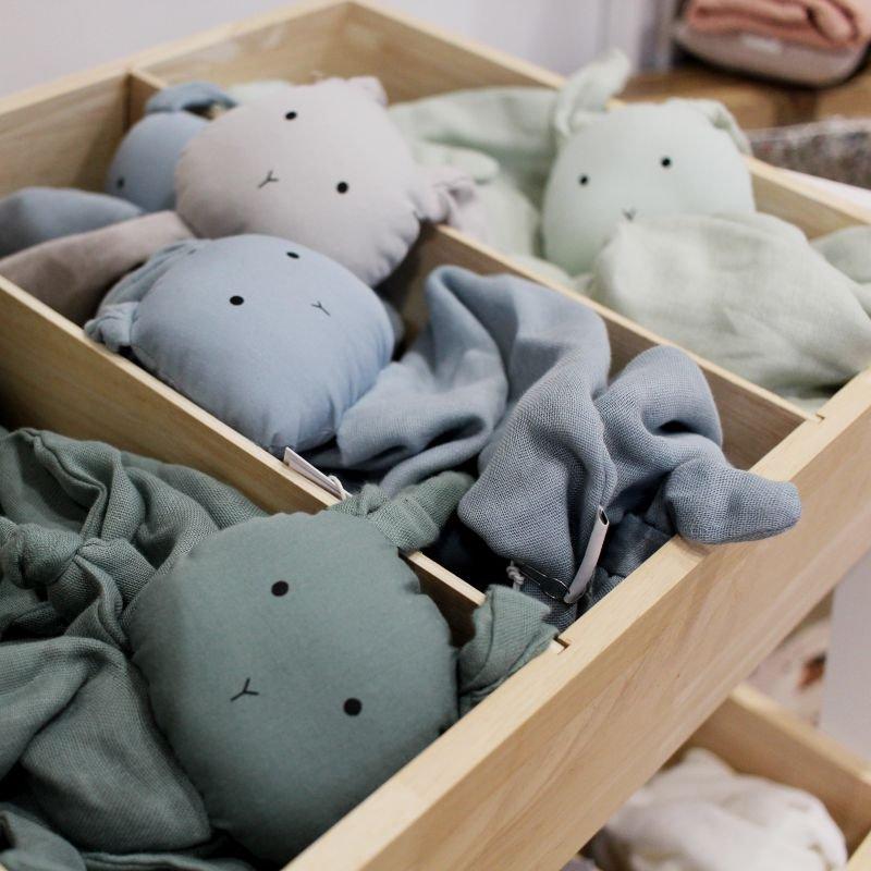 Doudou Lange en coton bio | Lapin bleu clair