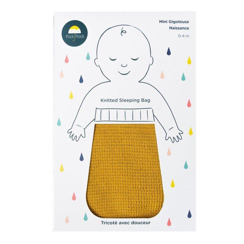 Gigoteuse naissance coton moutarde tricoté en coton certifié Oeko Tex 100