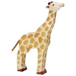 Grande girafe en bois tête haute