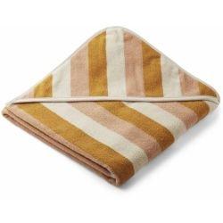 Grande cape de bain en coton bio pliée au carré | Rayures jaunes par Liewood
