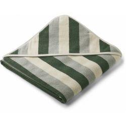 Grande cape de bain en coton bio pliée au carré | Rayures vertes par Liewood