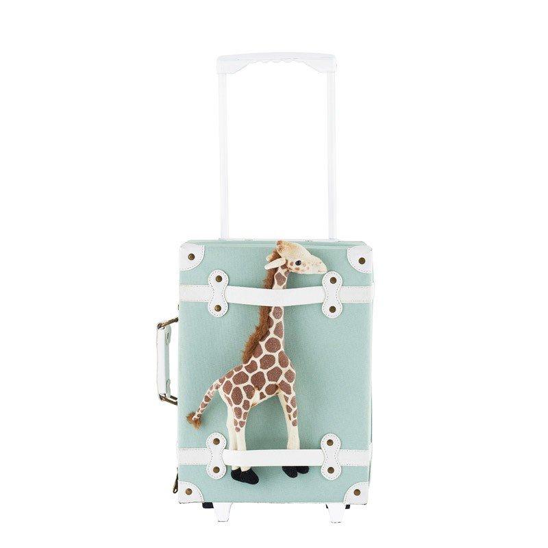 Valise à roulettes vert d'eau par Olliella avec une girafe accrochée