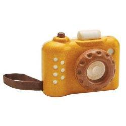 Appareil photo en bois jaune