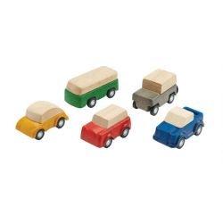 Set de 5 petits véhicules en bois