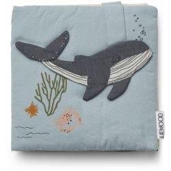 Livre d'éveil en tissu   Créatures de la mer bleu