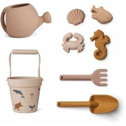 Set de plage en silicone avec arrosoir | Créatures de la mer rose