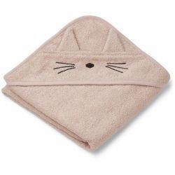 Petite cape de bain en coton bio | Chat rose par Liewood