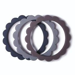 3 bracelets fleur | Gris/Acier/Pierre