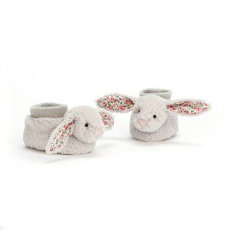 Chaussons doudou lapin gris par Jellycat
