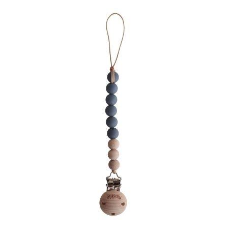 Attache tétine perles Bois et silicone   Gris fer - Mushie