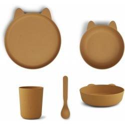 Box repas en PLA 4 pièces Lapin Moutarde par Liewood
