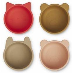4 mini bols en silicone Collection rouge et tuscany par Liewood