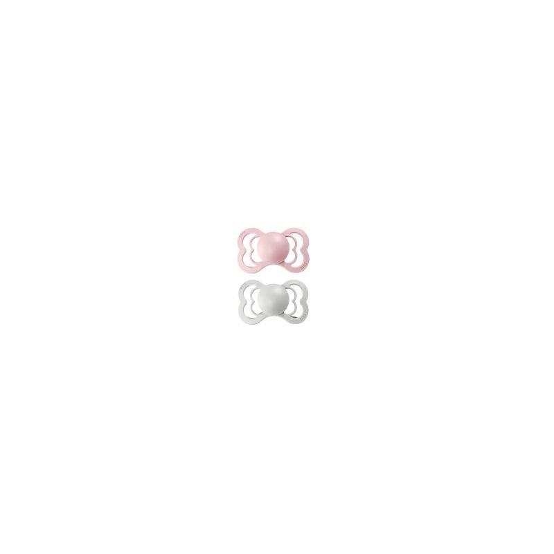 2 Tétines Bibs Supreme  Taille 2 Gris brume et rose blossom par Bibs