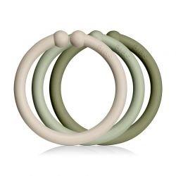 Pack de 12 anneaux Vanille, sauge et Olive par Bibs