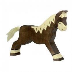 Cheval marchant marron foncé en bois par Holztiger