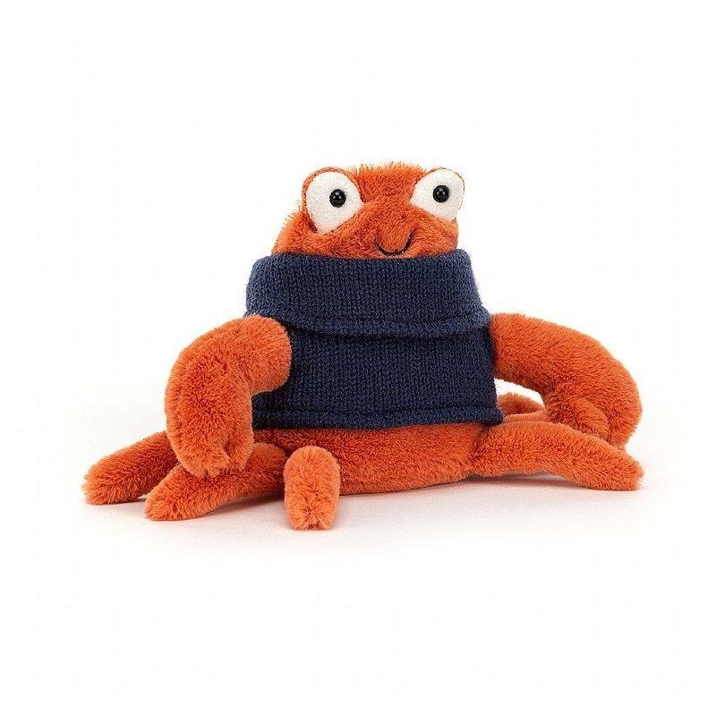 Crabe avec pull par Jellycat vue de côté