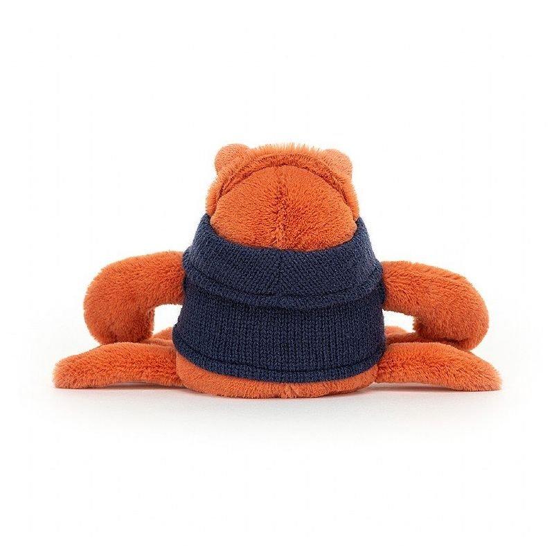 Crabe avec pull par Jellycat vue de dos