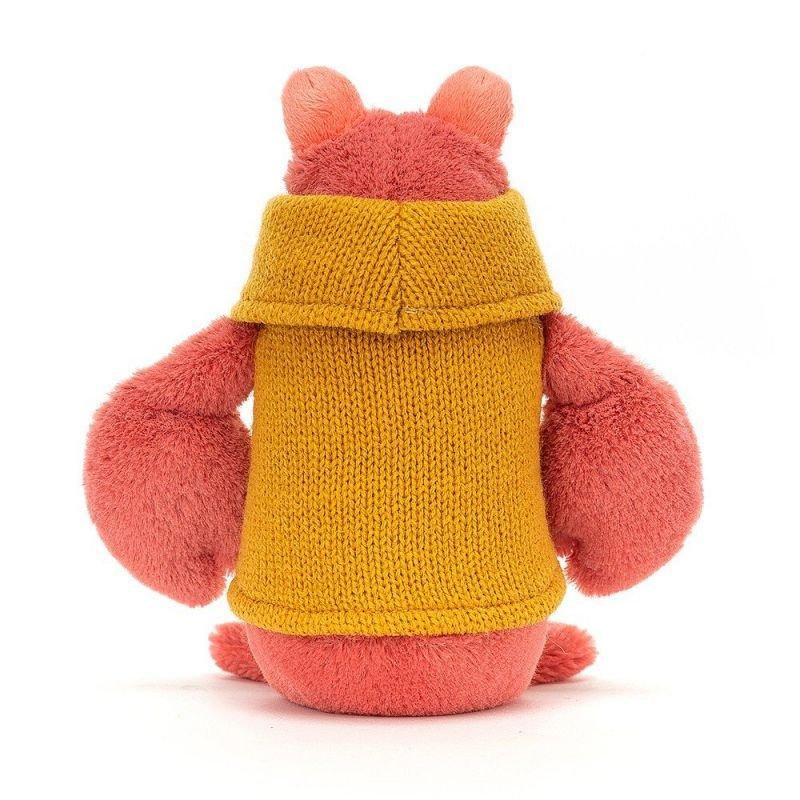 Homard avec pull par Jellycat vue de dos