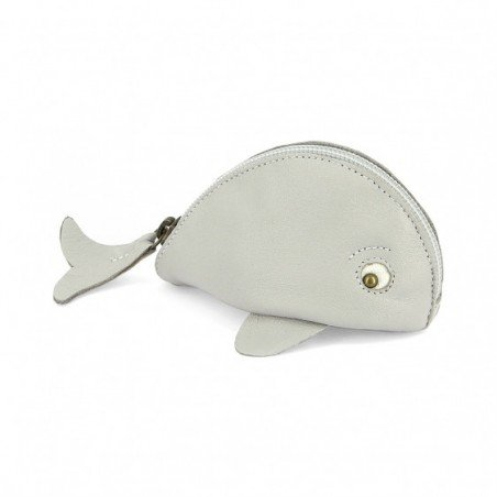 Porte monnaie baleine gris clair par Easy Peasy