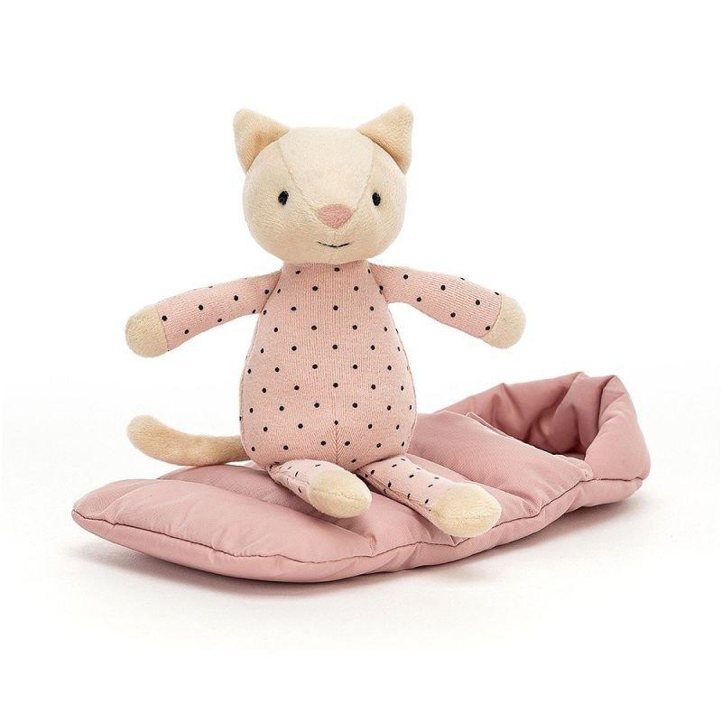 Doudou Chat dans son sac de couchage par Jellycat