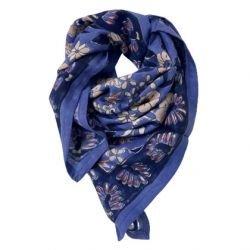 Foulard Paon 100 x 100 Bleu roi par Little cecile