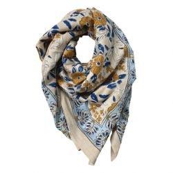 Foulard Paon 100 x 100 | Bleu ciel