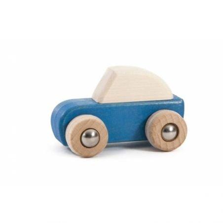Voiture à friction en bois Bleu par Bajo
