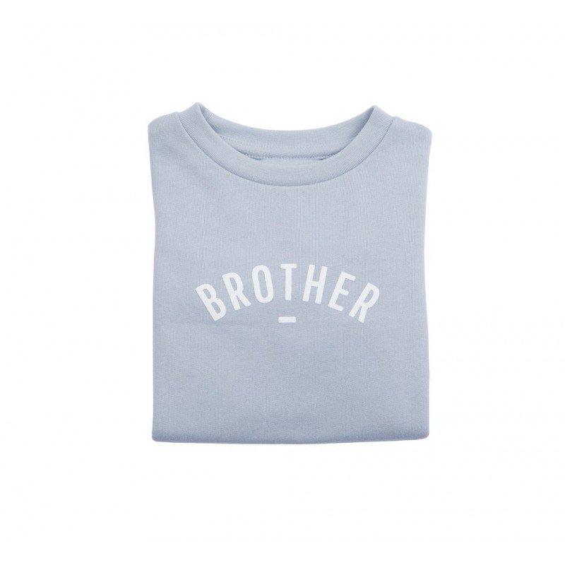Pull gris-bleu Brother blanc