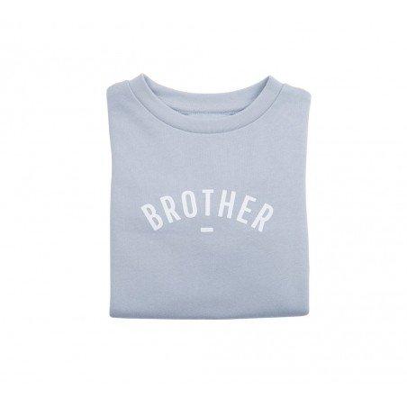Pull Brother gris-bleu plié