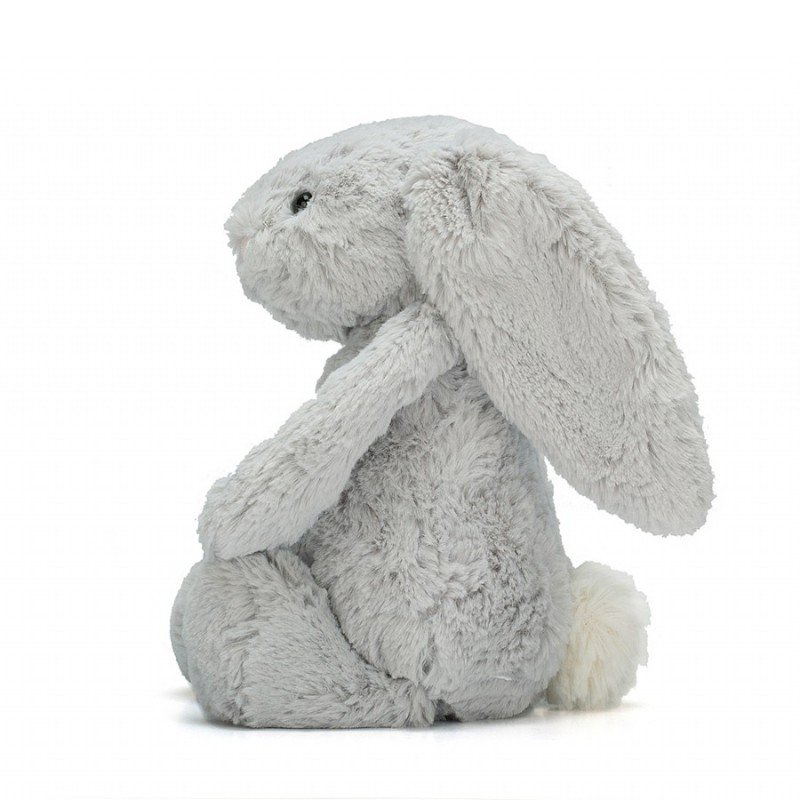 Peluche lapin Bashful gris 31 cm par Jellycat vu de côté