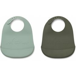 Lot de 2 bavoirs silicone   Dino peppermint