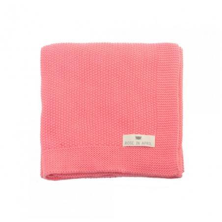 Couverture tricotée coton rose par Rose in April