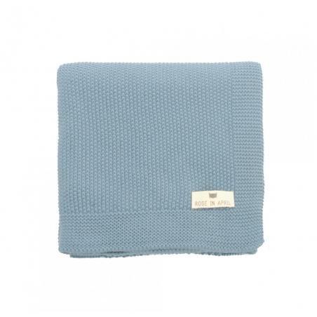 Couverture tricotée coton bleu par Rose in April