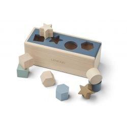 Boite à formes en bois   Géométrique Bleu foncé