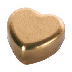 Petite boite métallique dorée en forme de coeur
