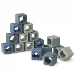16 petits cubes en silicone | Bleu