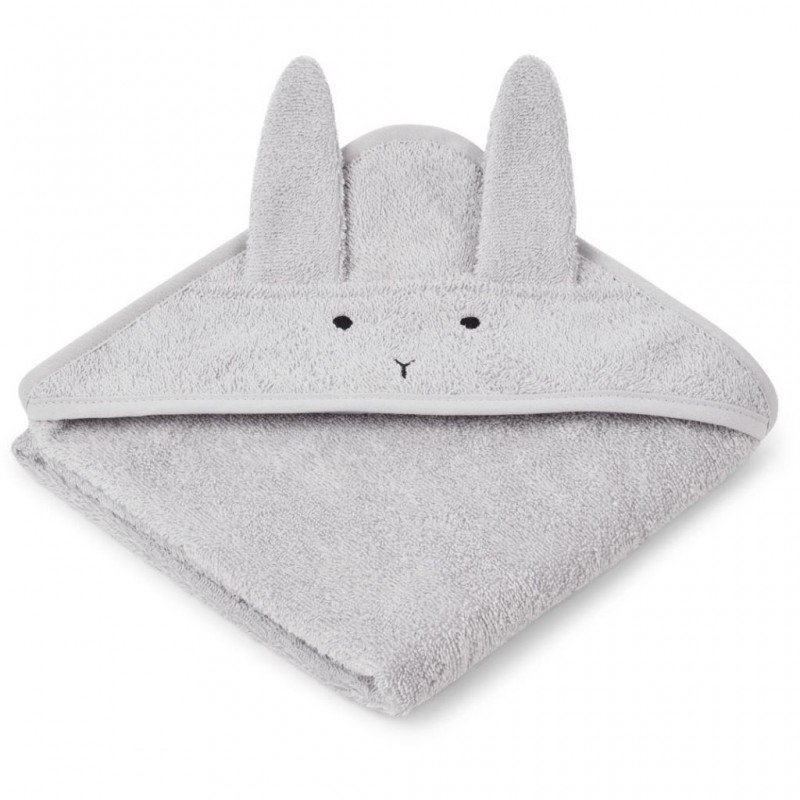 Grande cape de bain éponge avec tête de lapin et coton bio porté