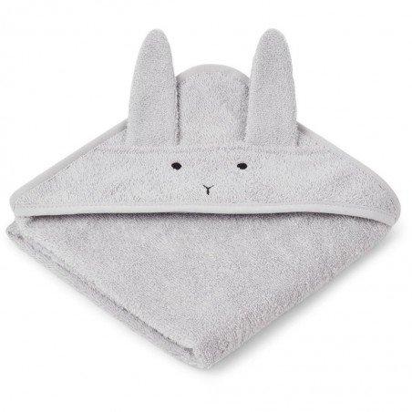 Grande cape de bain éponge avec tête de lapin gris et coton bio