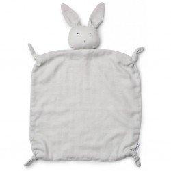 Doudou en gaz de coton bio en forme de lapin gris Liewood